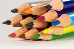 Lápices coloreados en primer macro Fotografía de archivo libre de regalías