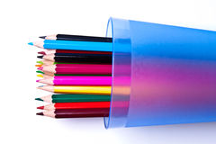 Lápices coloreados en un fondo ligero Fotografía de archivo libre de regalías