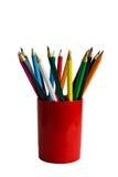 Lápices coloreados en un vidrio Fotografía de archivo libre de regalías