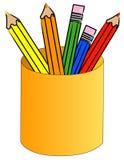 Lápices coloreados en una taza ilustración del vector