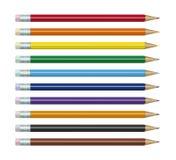 Lápices coloreados fijados Fotografía de archivo
