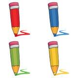 Lápices coloreados fijados Fotografía de archivo libre de regalías