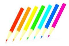 Lápices coloreados fijados. Imágenes de archivo libres de regalías