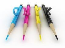 Lápices coloridos CMYK. imagen 3D Imagen de archivo libre de regalías