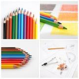 Lápices coloridos, collage para su diseño foto de archivo libre de regalías