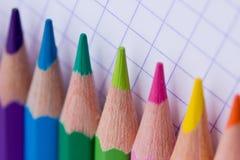 Lápices coloridos - papel de la escuela Fotografía de archivo libre de regalías