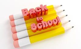 Lápices con el texto de nuevo a escuela Imagen de archivo