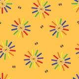 Lápices de diverso color - un modelo inconsútil Fotografía de archivo