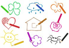 Lápices de diversos colores que drenan objetos simples stock de ilustración