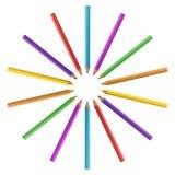 Lápices de drenaje coloreados Fotografía de archivo libre de regalías