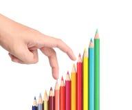 Lápices del color, acción del gráfico Imagenes de archivo