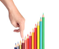 Lápices del color, acción del gráfico Fotografía de archivo