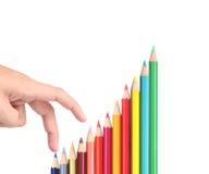 Lápices del color, acción del gráfico Fotos de archivo libres de regalías