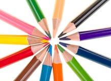 Lápices del color aislados en blanco Imagen de archivo libre de regalías