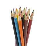 Lápices del color aislados en el cierre blanco del fondo para arriba Fotos de archivo