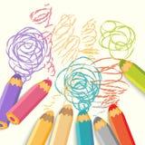 Lápices del color con la línea Fotografía de archivo libre de regalías