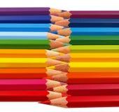 Lápices del color empilados para arriba Imagen de archivo