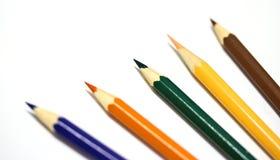Lápices del color en el fondo blanco Imagen de archivo libre de regalías