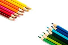 Lápices del color en el fondo blanco Foto de archivo libre de regalías