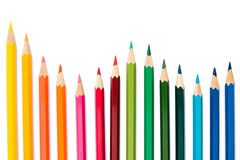 Lápices del color en el fondo blanco Fotografía de archivo libre de regalías