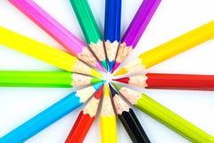 Lápices del color en el fondo blanco Fotos de archivo libres de regalías