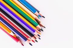 Lápices del color en el fondo blanco Diversos lápices coloreados Imágenes de archivo libres de regalías