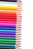 Lápices del color en fila Fotografía de archivo libre de regalías