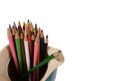 Lápices del color en jarra imagen de archivo libre de regalías