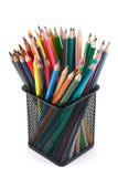 Lápices del color en la cesta Imágenes de archivo libres de regalías