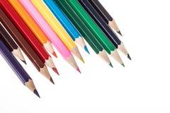 Lápices del color sobre blanco Imagen de archivo libre de regalías