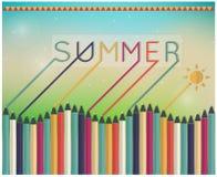 Lápices del colorante del tiempo de verano Fotografía de archivo libre de regalías