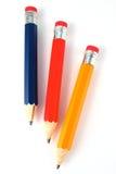 Lápices del rojo azul y del amarillo Fotografía de archivo