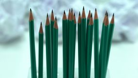 Lápices, efectos de escritorio de la oficina, negocio y escuela de madera ordinarios, semejanza metrajes
