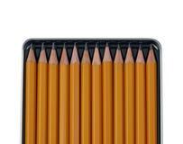 Lápices en rectángulo abierto del metal. Imágenes de archivo libres de regalías
