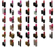40 lápices labiales fijados en blanco Foto de archivo