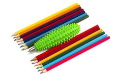Lápices multicolores, de nuevo a escuela. Fotos de archivo libres de regalías