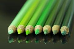 6 lápices verdes en fondo negro Fotografía de archivo
