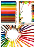 Lápices y collage coloridos de las fuentes de oficina imagenes de archivo