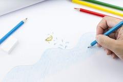 Lápices y dibujo del color Fotografía de archivo