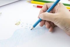 Lápices y dibujo del color Fotos de archivo