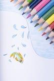 Lápices y dibujo del color Foto de archivo