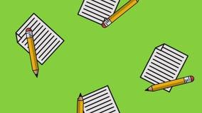 Lápices y hojas HD stock de ilustración
