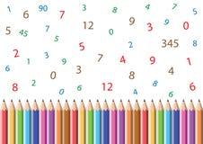 Lápices y números Fotografía de archivo libre de regalías