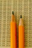 Lápices y números Imagen de archivo libre de regalías