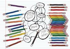 Lápices y organigrama del intercambio de ideas Fotografía de archivo libre de regalías