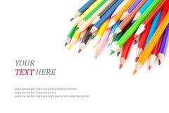 Lápices y texto agudos coloreados Fotos de archivo libres de regalías
