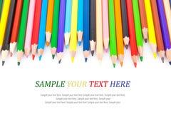Lápices y texto agudos coloreados Imagen de archivo libre de regalías