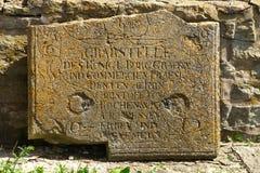 Lápida mortuaria antigua Fotografía de archivo