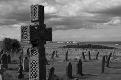 Lápida mortuaria cruzada Fotografía de archivo