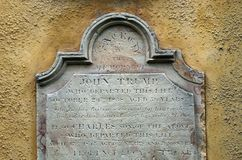 Lápida mortuoria colonial tasmana del triunfo Foto de archivo libre de regalías